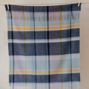 Super Soft Lambswool Baby Blanket in Dusky Pink & Navy Multi Check