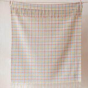 Super Soft Lambswool Baby Blanket in Rainbow Gingham