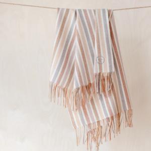 Super Soft Lambswool Baby Blanket in Neutral Stripe