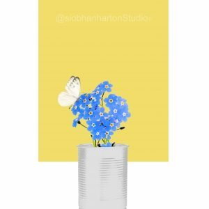 Forget-Me-Not with Butterfly on Flower Print – Delicious Yellow